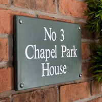 Slate House Sign 3 line 35.5 x 20cm - smoky green slate