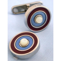 Red Blue and Mother of Pearl Target Cufflinks - 1+