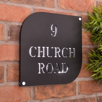 Stunning Matt Black Acrylic House Sign With Mirrored Base Layer