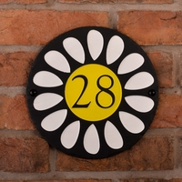 Round Rustic Slate House Number Daisy