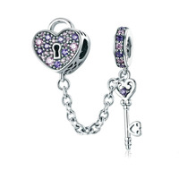 Love Heart Lock And Key Charm