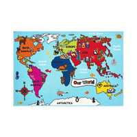 World Map Rug 100 x 150 cm