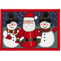 Santa and Snowmen Christmas Door Mat