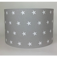 Grey with White Stars Large Fabric Light Shade