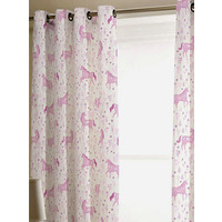 Catherine Lansfield Folk Unicorn Eyelet Curtains 66 x 72 Inch Pink