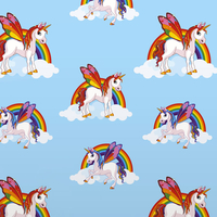 Unicorns and Rainbows Wallpaper - Blue