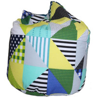 Geo Patchwork Bean Bag - Lime