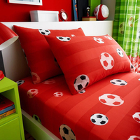 Football Single Fitted Sheet and Pillowcase - Red
