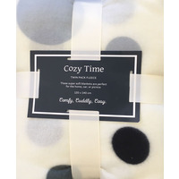 Fleece Blankets, Twin Pack - Grey, Cream, Spots.