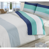 Blue, Colour Block Stripe King Size Duvet Cover