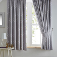Grey, White Star Blackout Curtains 72s