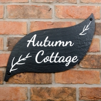 Leaf Shaped Rustic Slate House Sign
