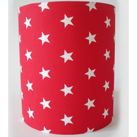 Red with White Stars, Medium Fabric Lampshade / Lightshade