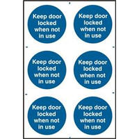 ASEC Keep Door Locked When Not In Use 200mm x 300mm PVC Self Adhesive Sign - 6 Per Sheet