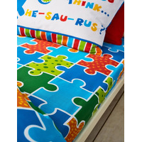 Catherine Lansfield Dino-Saw Easy Care Single Fitted Sheet Bright