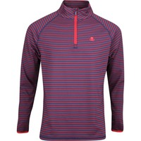 G/FORE Golf Pullover - Striped Mid - Twilight - Cabernet AW19