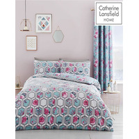 Catherine Lansfield Hexagon, Single Floral Duvet Set- Teal