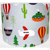 Transport themed Large Fabric Lightshade with boats and planes