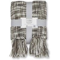 Catherine Lansfield Tonal Weave Blanket - Grey