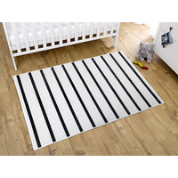 White and Black Striped Rug 100 x 150 cm