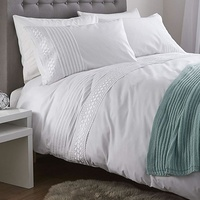 Catherine Lansfield Classic Lace Bands Easy Care Duvet Set White