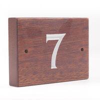 1 Digit Solid Iroko Wood House Number