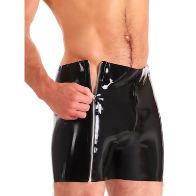 Mens Double Zip Latex Shorts
