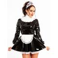 PVC Melody Maid Dress Black  White