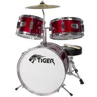 Tiger 3 Piece Junior Drum Kit - Drum Set for Kids in Red