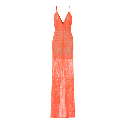 Nazz Collection Daphne Coral Sheer Luxe Sequin Slit Maxi Dress