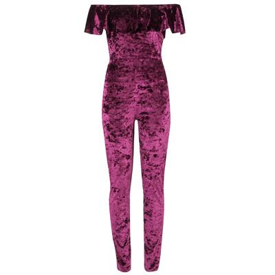 Nazz Collection Veronica Plum Crushed Velvet Bardot Frill Jumpsuit