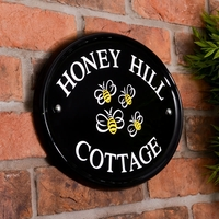 Black Engraved Oval Ceramic Sign 31.5 x 24cm