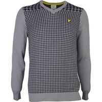 Lyle & Scott Golf Jumper - Carluke Houndstooth - Mid Grey SS17