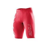 Image of 2XU Mens Compression Shorts #Red/Silver #Medium