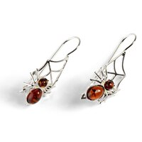 Cognac Amber and Silver Spider on the Web Hook Earrings