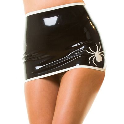 Sinful Spider Latex Mini Skirt Black