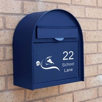 Letterboxes - Edinburgh Blue Letterbox personalised with your address