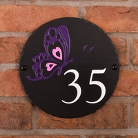 Round Rustic Slate House Number Butterfly