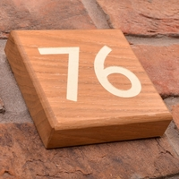 Solid Oak House Number Square