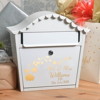 Personalised Autumn Wedding Letterbox With Name Date and Leaves