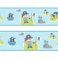 Pirate Wallpaper Border - Blue