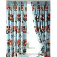 Fire Engines Curtains, 72s - Pale Blue