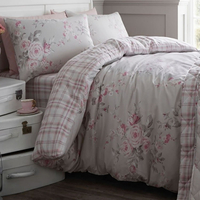 Catherine Lansfield Canterbury Brushed Check Single Duvet Set Grey