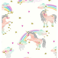 Rainbow Unicorn Wallpaper - White
