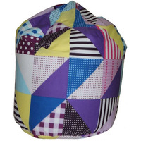 Geo Patchwork Bean Bag - Berry