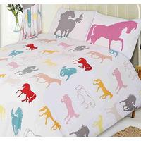 Horse King Size Bedding - White