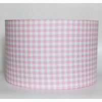 Pink Gingham, Large Fabric Light Shade