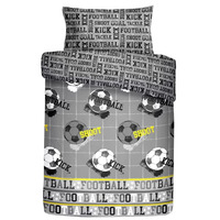 Grey, Football Themed Single Bedding