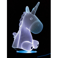 3D Optical Illusion Night Light - Unicorn