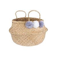 Grey Pom Pom Seagrass Storage Basket